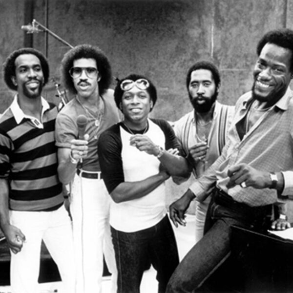 The Commodores, as seen in their Tuskegee, AL recording studio in 1980 Shown: Milan Williams, Thomas McClary, Lionel Ritchie, Walter Orange, William King, Ronald LaPread